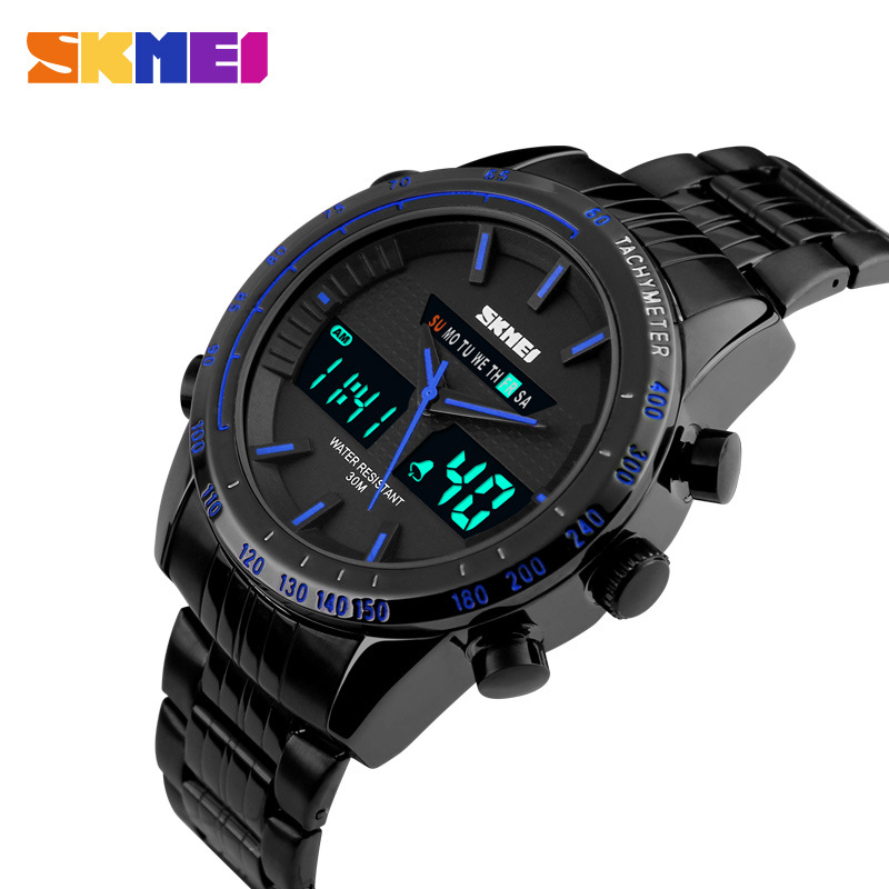 Luxury Men Sports Military Watch Fashion Casual Dress Wristwatches 30m waterproof 2 Time Zone Digital Quartz