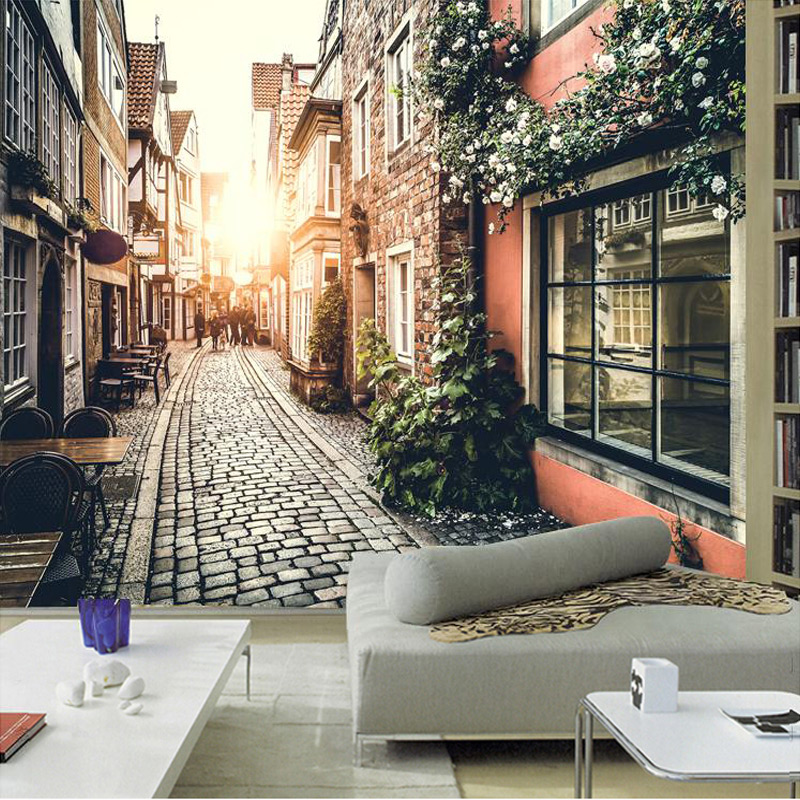 Custom 3D Photo Wallpaper European Retro Town Streetscape Large Wall Painting Cafe Living Room Backdrop Wallpaper Murals Wall