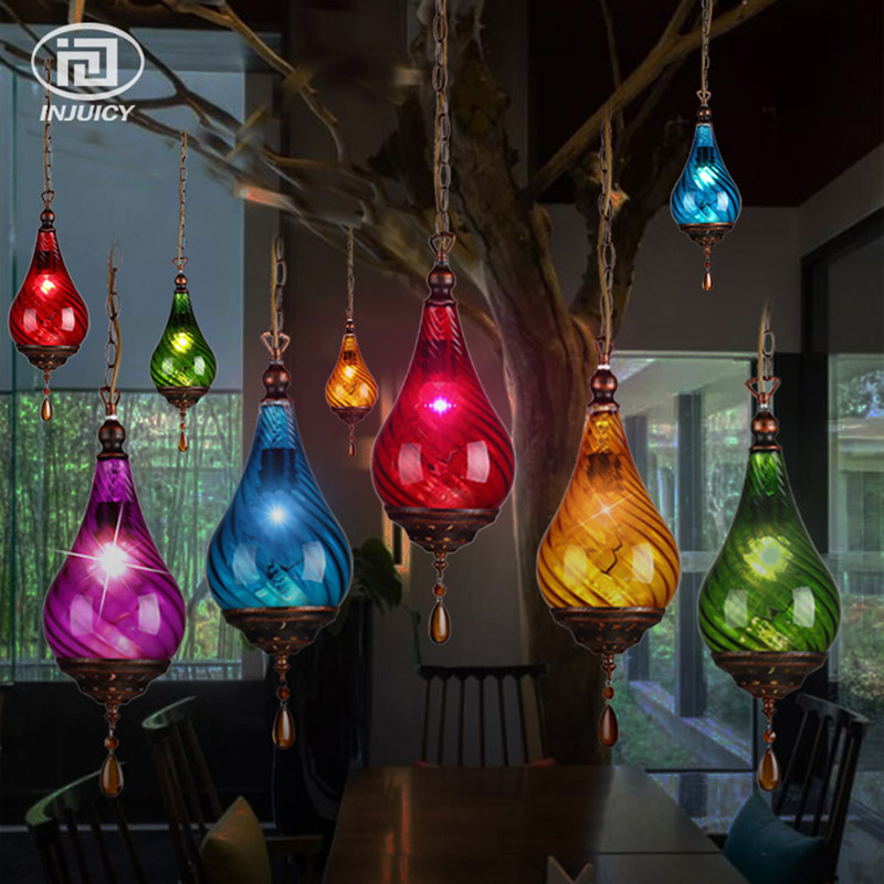 Mediterranean Style Retro Colorful Glass Pendant Lamp Vintage Crystal Hanging Light Coffee Shop Bar Corridor Hall Lighting edison industrial vintage retro simple type flowers crystal glass droplight cafe bar club hall coffee shop bedroom bedside