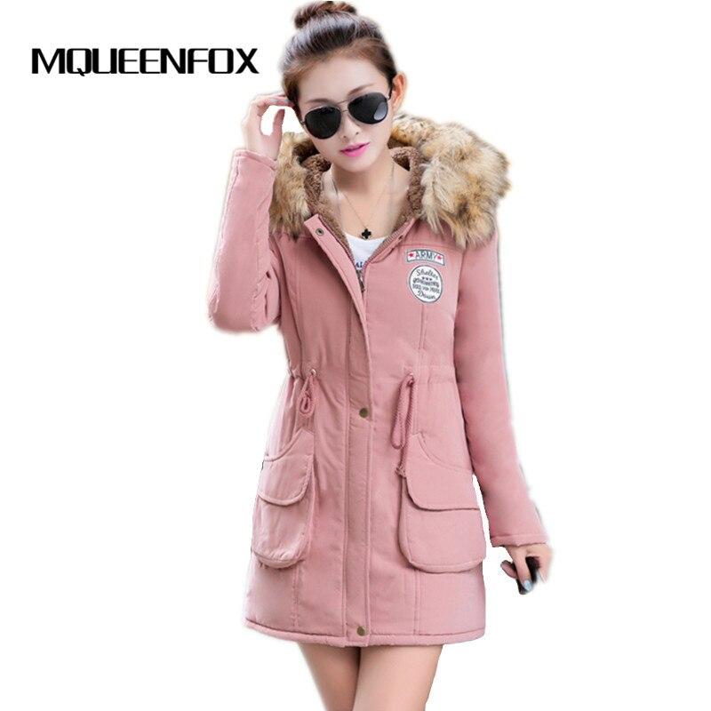 MQUEENFOX Winter Jacket Women Fur Coat Hooded Parka Women Jackets Military Women Winter Jackets and Coats