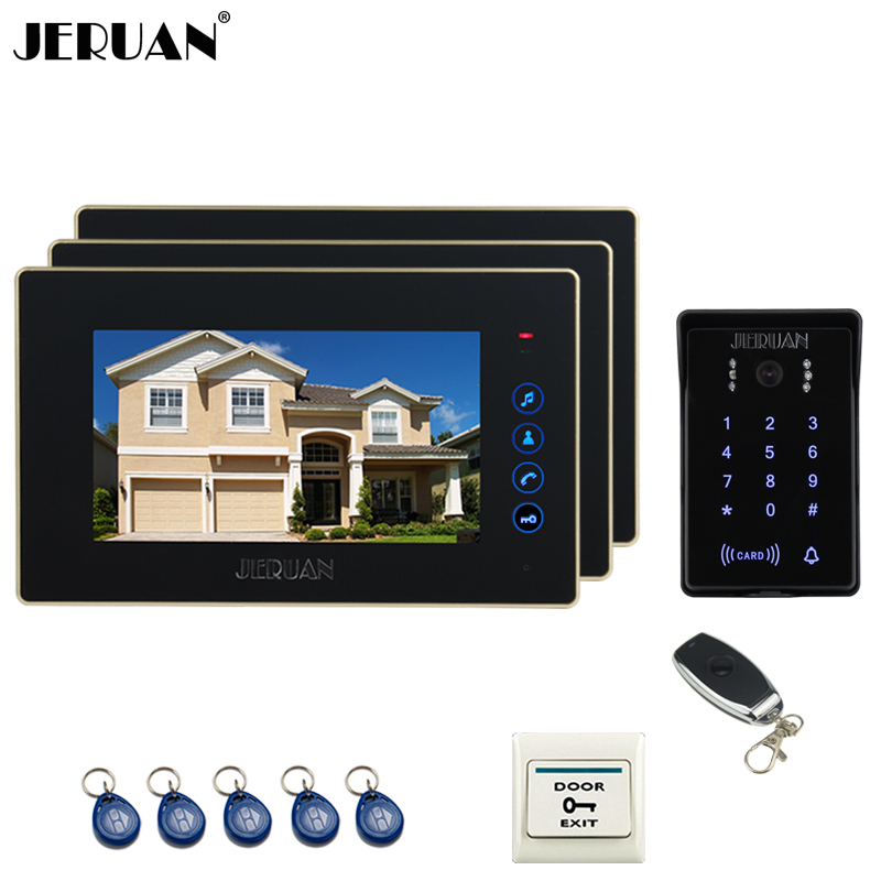JERUAN Home wired 7 inch Touch key video doorphone intercom system 3 Monitor RFID waterproof touch key password keypad camera rfid keyboard ip65 waterproof video doorphone intercom system for 3 apartments with 7 color lcd video intercom system in stock