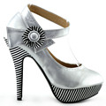 LF30404-4 New Ladies Flower Ankle Strap Stripe Platform Party Pumps