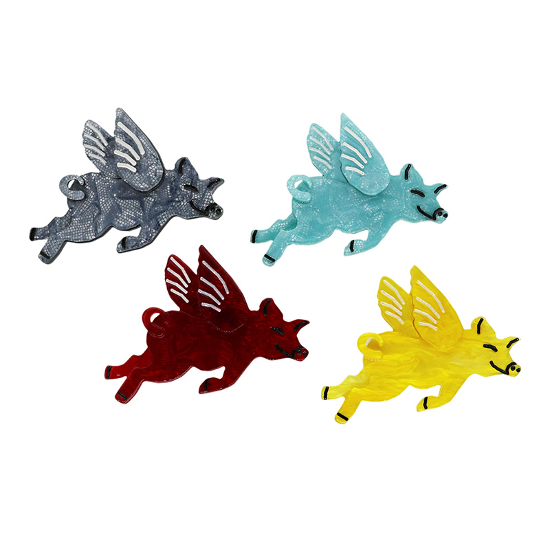 New Arrival Flying Pig Brooches Pins Pigs Can Fly Women Men Resin Acrylic Flying Pig Brooch Dcnovember Boutique Jewelry