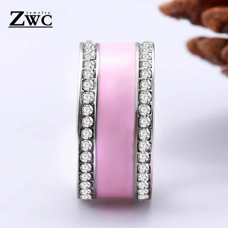 ZWC แฟชั่นเสน่ห์คริสตัลแหวนแต่งงานวงกว้างสำหรับหญิงสาวคุณภาพสูงแหวนเครื่องประดับของขวัญขายส่ง