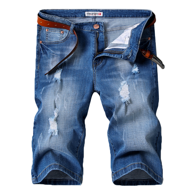 Denim Shorts Jeans Elastic New-Style Fashion Casual Cotton Summer Brand Blue Hole Male