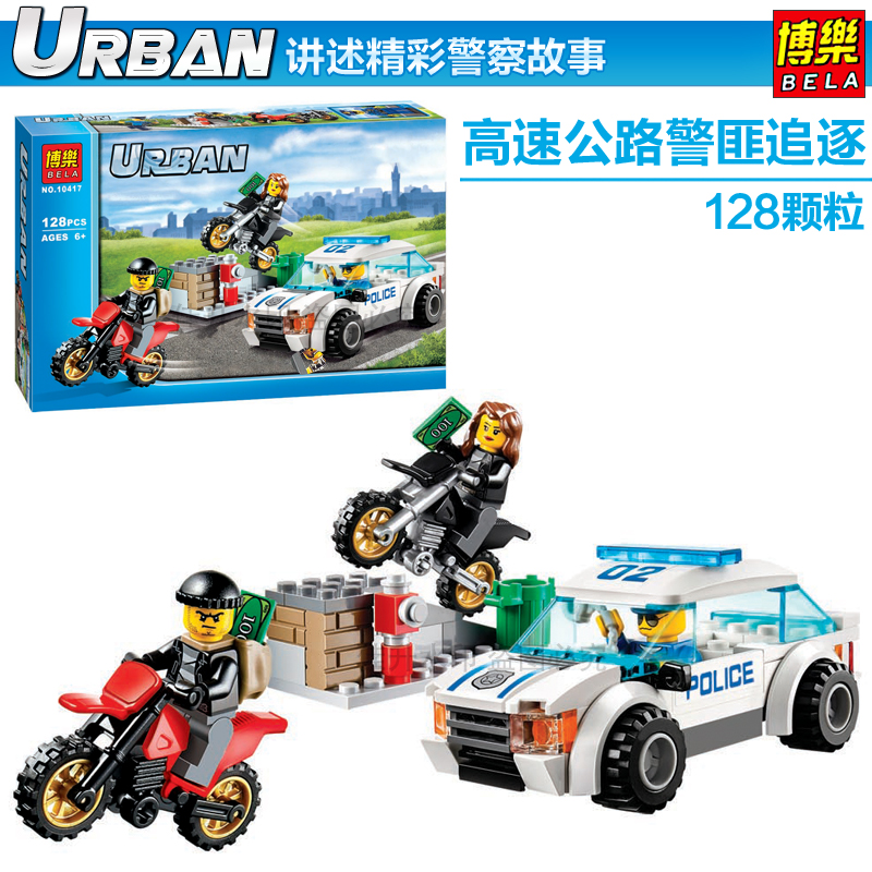 Pogo Lepin Bela 10417 Motorcycle Pursuit Of Prisoners Urban Police City Building Blocks Bricks Toys Compatible Legoe compatible lepin city block police dog unit 60045 building bricks bela 10419 policeman toys for children 011
