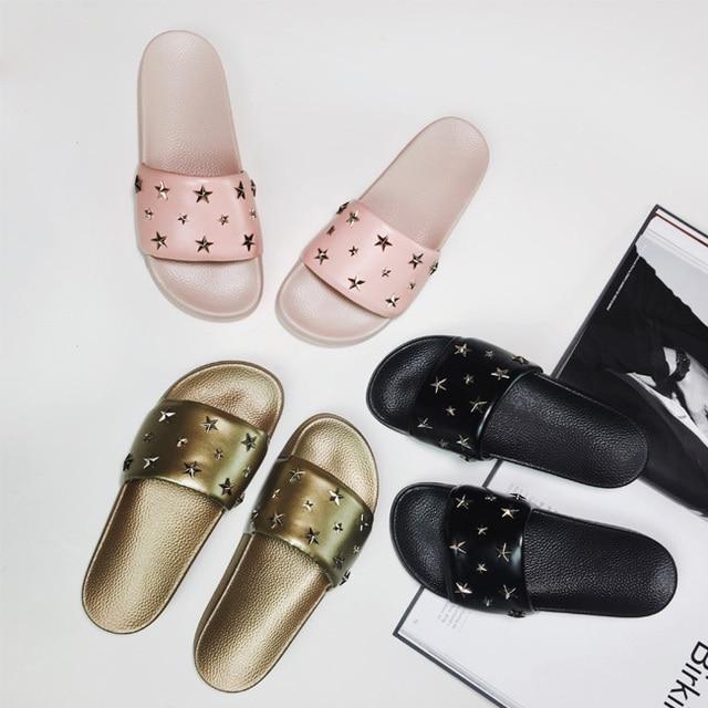 online store 25616 56a01 Gold Niet Flip Flops Luxus Frauen Schuhe Neue Sterne Sommer ...