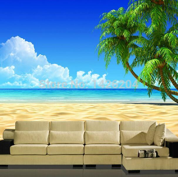 Buy great wall modern 3d palm beach for 3d nature wallpaper for wall
