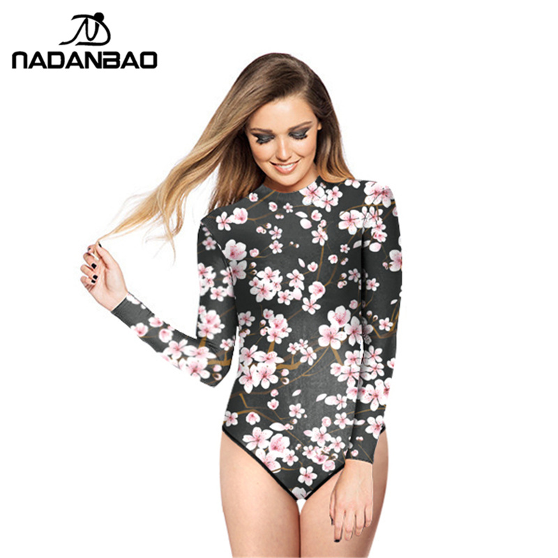 New Design Style Surfing Bathing Suit Cherry Blossom Printed Women Swimwear Loog Sleeve Zippered One Piece Swimsuit Y02014