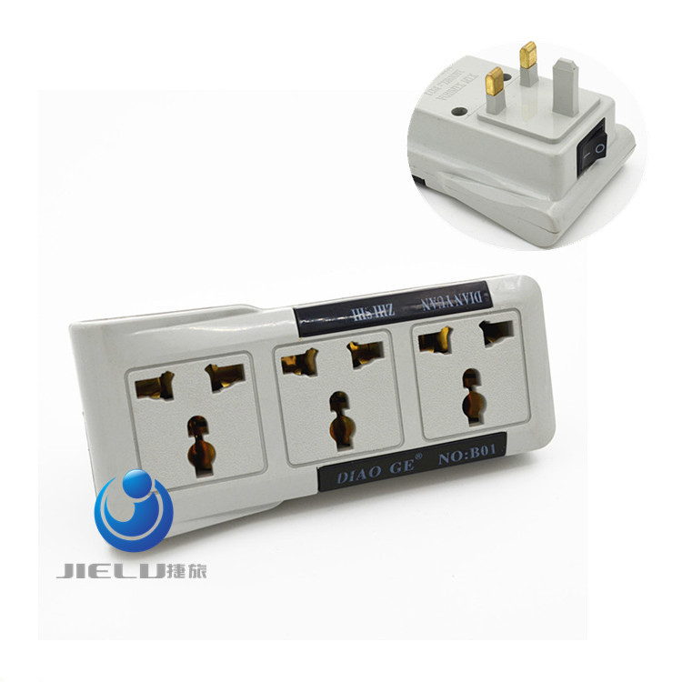 3in1 Universal American US EU AU To UK Plug Converter Socket in Adapter Adaptor Travel Parede Electrical Outlet With Switch