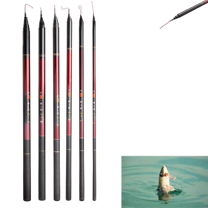 2.7M-7.2M Professional Glass Fiber Telescope Fishing Rod Spinning Pole Portable