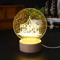 Vivid 3D LED Night Light Merry Go Round Modeling Lamp Christmas New Year Party Decoration Decor