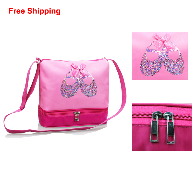 Online Shop Free Shipping Pink Dance Crossbody Bags Beautiful Embroidered Sequin  Ballet Shoes Cute Girls Children Ballet Dance Bags For Kid  d600e9bb93dc