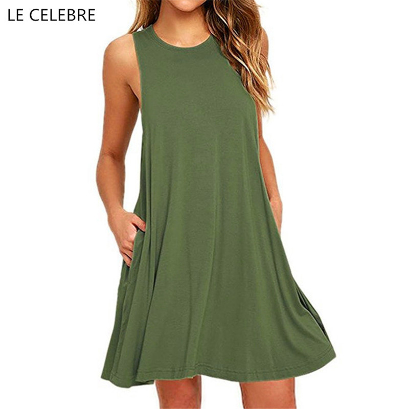 LE CELEBRE Tank Back Summer Dress 2018 O Neck Loose Women Dresses Knee-Length Casual Ladies Dresses Black Friday ...