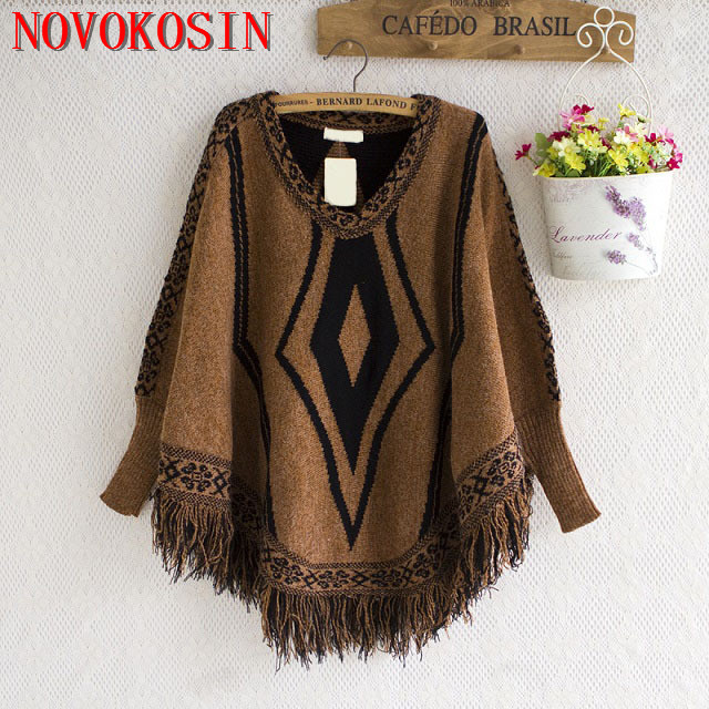 SC135 Women Capes Printed Poncho 2018 Autumn Winter Knitted New Bat Sleeves Sweater Triangle Tassel O Neck Pullover Coat ...
