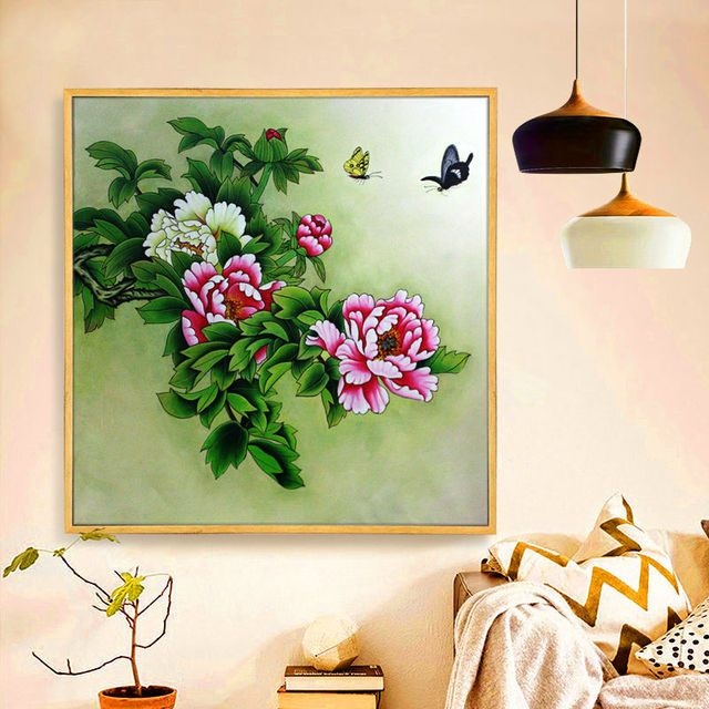 Subshrubby Peony Flower Chinese Style Hand Painted Oil Painting Home Decor For Living Room Bed