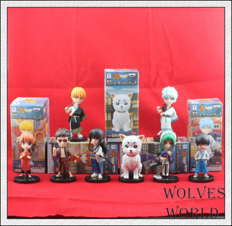 8pcs/set Gin Tama Gintama Sakata Gintoki Silver Soul Action Figures PVC brinquedos Collection Figures toys for christmas gift 12pcs set children kids toys gift mini figures toys little pet animal cat dog lps action figures