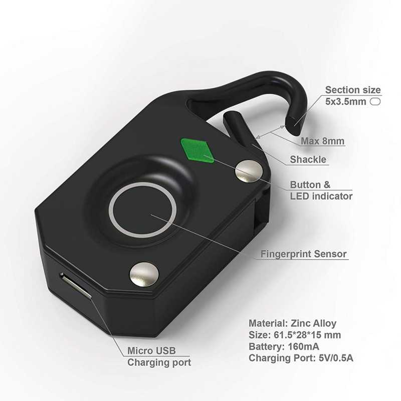 SD02 Waterproof Fingerprint Lock Home Use Anti-thief Locking USB Rechargeable Travel Suit Case Padlock