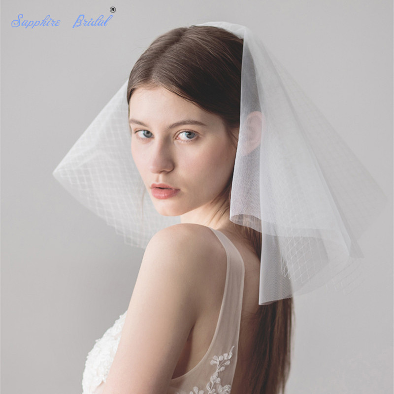 Sapphire Bridal Top Quality Cute Mini Ivory Wedding Veil Puffy Shoulder Length Bridal Veils With Comb