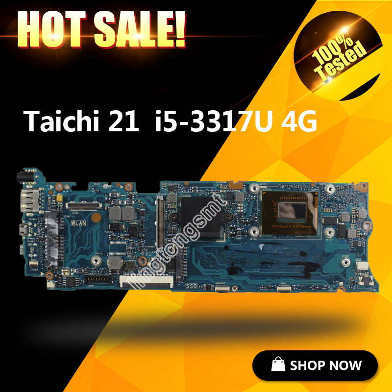 For ASUS Taichi21 with i5-3337u CPU Laptop Motherboard 90R-NTFMB1500Y/ 60-NTFMB1501 Mainboard 100% fully tested for asus ux31a ux31a2 laptop motherboard with i5 3517u cpu fully tested rev 4 1 top mainboard