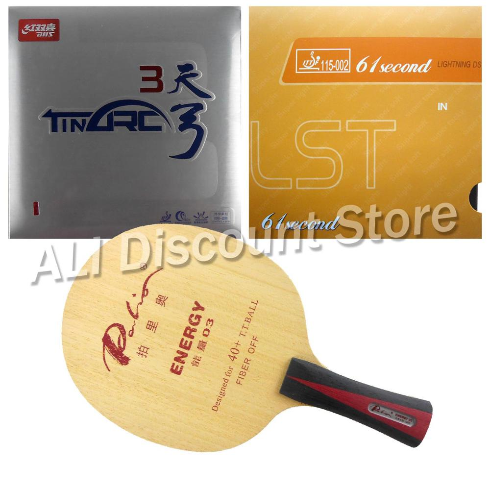 Palio ENERGY 03 Blade with DHS TinArc 3 and 61second DS LST Rubbers for a Table Tennis Combo Racket FL palio energy 03 blade with dhs tinarc 3 and 61second ds lst rubbers for a racket shakehand long handle fl
