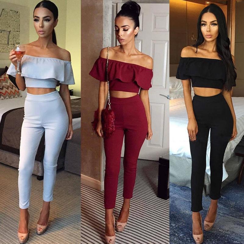 Fashion Women Femme 2 Piece Set Top+pants Women Ladies Cloth Set swear Slim Casual Suit Slash Neck Women Sets