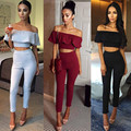 Moda Mulheres Femme 2 Peça Set Top + calças Conjunto De Pano juro Terno Magro Ocasional Das Senhoras Das Mulheres de Slash Neck Mulheres conjuntos