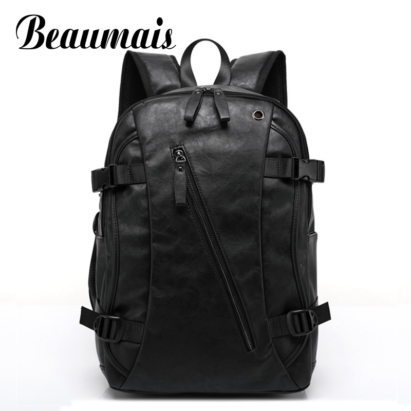 Beaumais Brand Men School Backpacks High Quality PU Leather Backpack Vintage Men Casual Travel Bags Backpack for Laptop DB6060 laptop 14 15 inch notebook computer backpack men s travel black backpacks brand waterproof pu leather school bags for teenagers