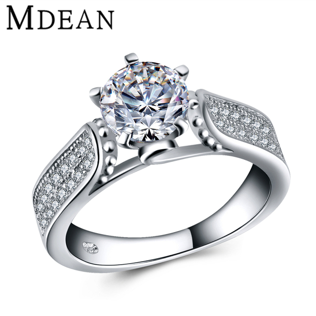 MDEAN women silver ring 925 solid sterling silver jewelry wedding rings for women engagement ring fashion bague Bijoux MSR446