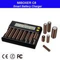 Интеллектуальное зарядное устройство 8 слотов ЖК-дисплей MiBOXER C8 для Li-Ion LiFePO4 Ni-MH Ni-Cd AA 21700 20700 26650 18650 17670 RCR12