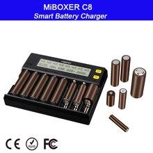 Miboxc8 شاحن بطارية ذكي 8 فتحات الذكية مع شاشة الكريستال السائل ل ليثيوم أيون LiFePO4 Ni mh Ni Cd AA 21700 20700 26650 18650