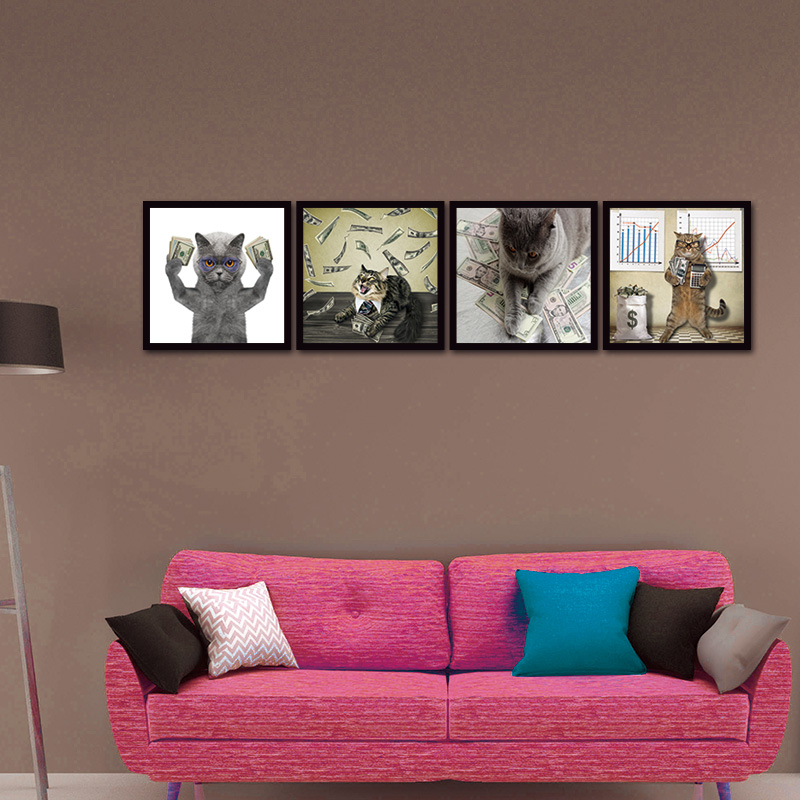 Canvas Wall Art Painting Newest Island 5 Panels Decorations Modern Canvas Prints Artwork Cat and Cash Pictures Paintings Decor