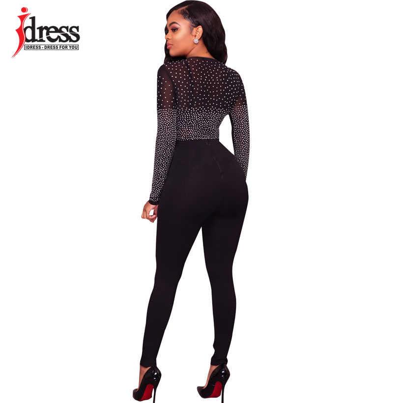IDress черный сетки со стразами пикантные Корректирующие боди для женщин с длинным рукавом Осень Sheer клуб Bodycon Комбинезоны девоче