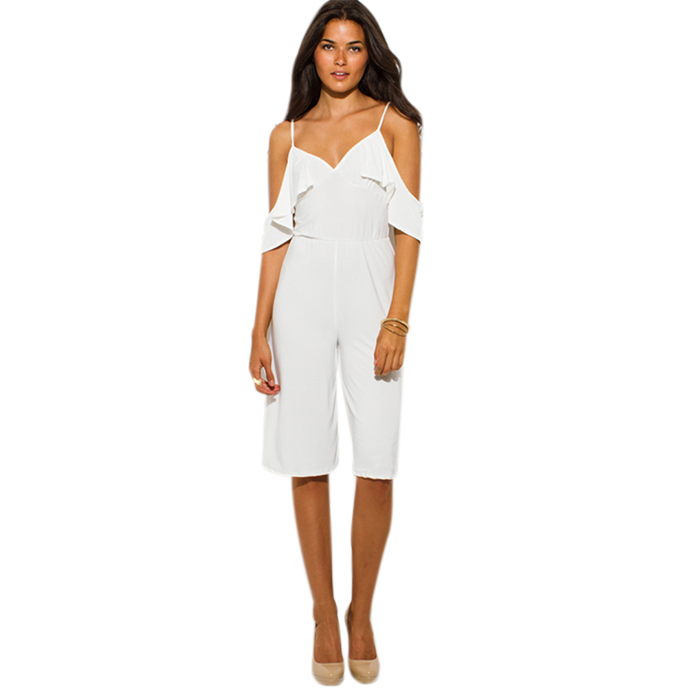 2020 Women's Summer Sexy V neck Strap Off-shouler Casual Romper Jumpsuit Leisure loose Short Overalls for Women Playsuit