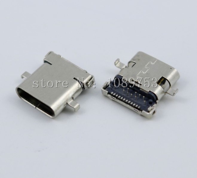 купить 5Pcs USB 3.1 Type C Female Socket Connector 24pin 10.0mm 90 degree High speed DIY Connectors недорого