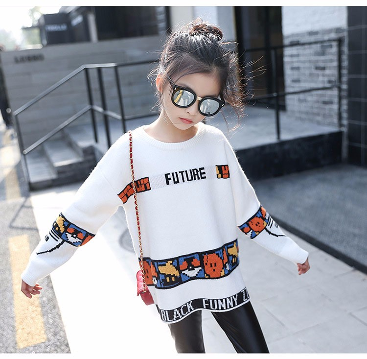 loose knitted sweater girls winter autumn spring 2017 new white character knitting teenage little girls sweaters and pullovers 6 7 8 9 10 11 12 13 14 15 16 years old little teenage big girl sweaters for kids (14)