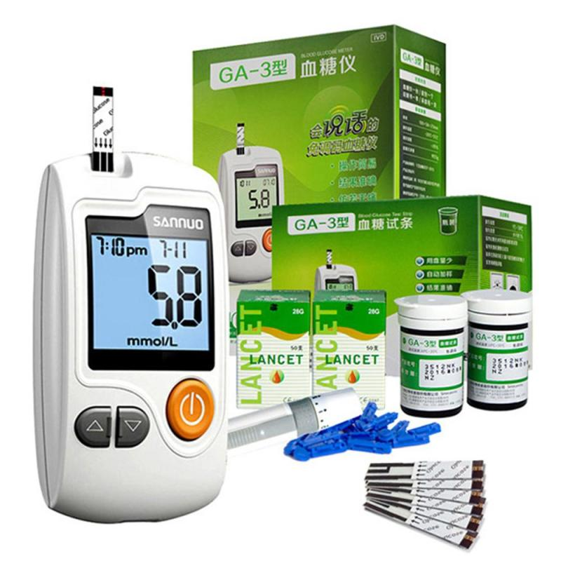 Intelligent Voice Glucometer Diabetes Tester Sugar Blood Monitor 50pcs Test Strips +50pcs Lancets Needles Instrument L4 50pcs bts462t