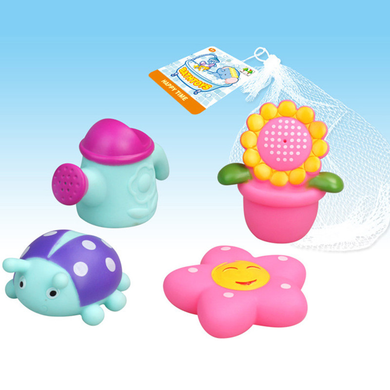 4pcs/lot Lovely Animals Baby Bath Toys Soft Rubber Flower Star Squeeze Sound Squeaky Bathing Play Toy For Kids Children Gifts