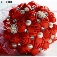 Artificial rhinestone bridal bouquets crystal jewelry pearl flower bouquet wedding flowers silk red vintage wedding bouquets