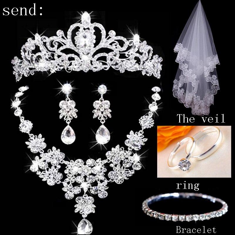 Moda de Luxo Strass Casamento Conjuntos De Joias de Noiva Casamento Joias Acessorios de Noiva Tiara Colar Brinco(China)