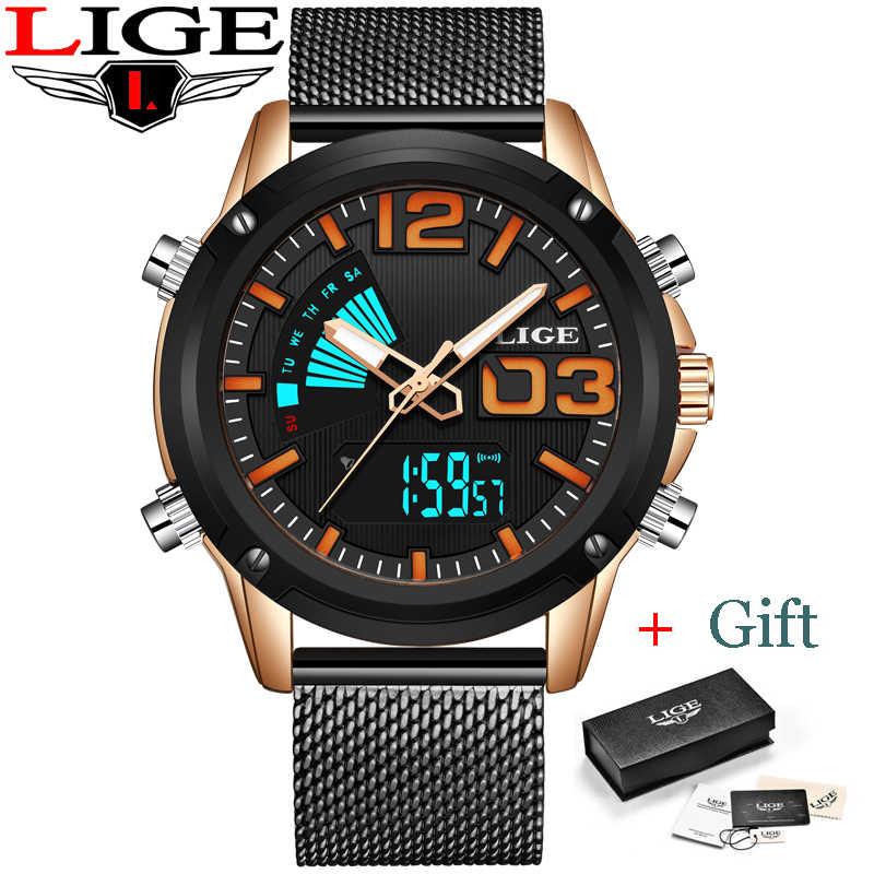Reloj de los hombres LIGE Double affichage montre hommes Sport Quartz montre hommes montres haut de gamme de luxe en acier pleine horloge étanche