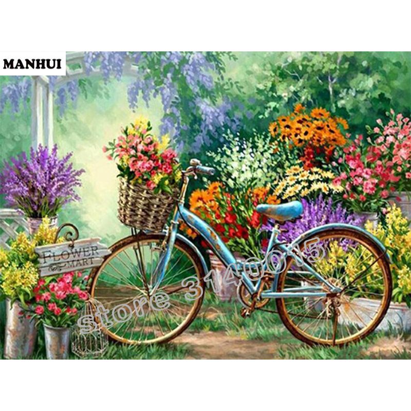 Diy Spuare diamond painting Flower bike Mosaic Diamond Cross Painting Stitch diamond paint art mosaic crafts ABC160