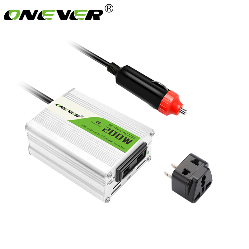 Onever Car Inverter DC12V to AC 220V 200W Power Converter 12v to 220v Inversor Adapter Modified Sine Wave Power with USB Charger