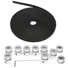 8 PCS GT2 16T Bore 5mm Timing Pulley+ 5m Belt + Tensioner For RepRap 3D Printer 50pcs timing belt tensioner springs belt tension torsion for gt2 t2 5