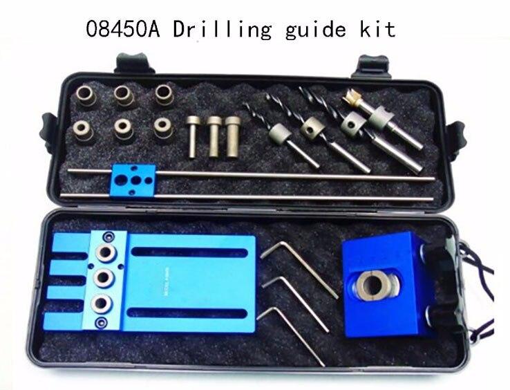 Herramienta de la carpintería, DIY carpintería alta precisión pasador Jigs Kit, 3 en 1 localizador de perforación, 08450A guía de perforación kit