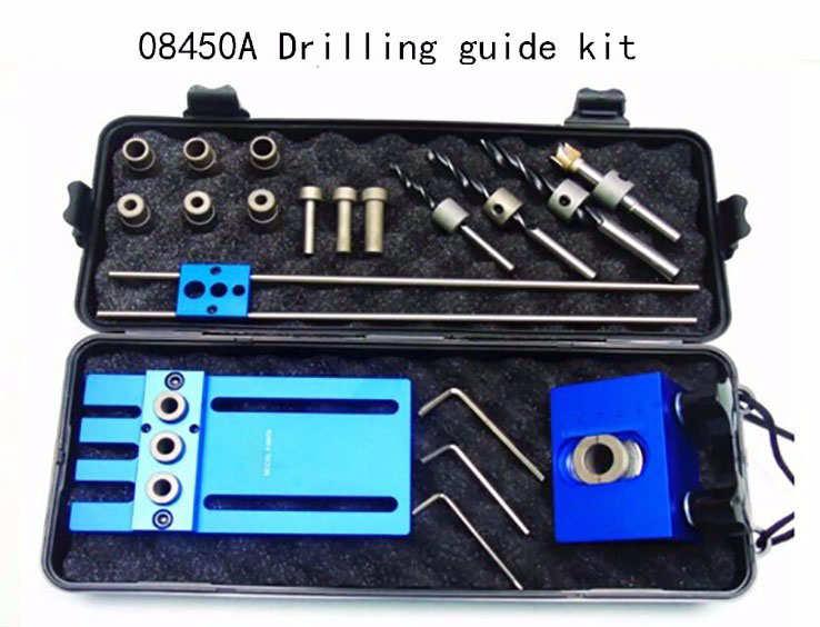 Herramienta para trabajar la madera, Kit de herramientas de alta precisión para carpintería, 3 en 1 localizador de perforación, kit de guía de perforación 08450A