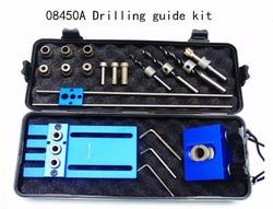 Houtbewerking tool, DIY Houtbewerking Joinery Hoge Precisie Deuvel Jigs Kit, 3 in 1 Boren locator, 08450A boren gids kit