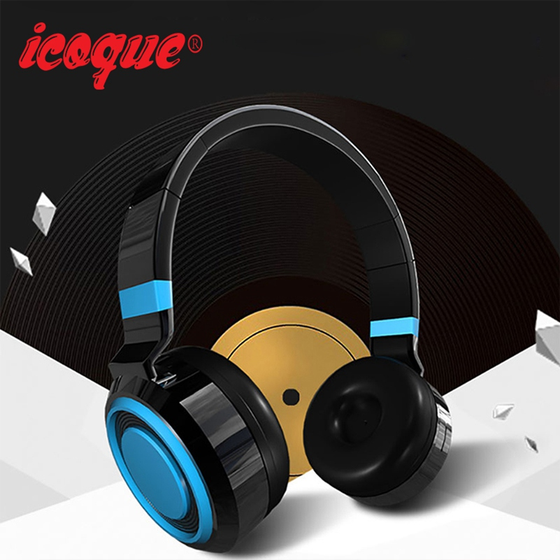Icoque Bluetooth Headphones Hifi Stereo Wireless Headphone with Mic for Samsung s6 Phone Wired Bluetooth Earphone Sport Headset