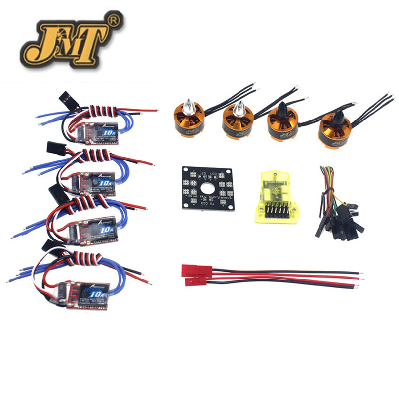 JMT RC QuadCopter UFO 4Axis Kit Hobbywing 10A ESC + 2400KV Brushless Motor + Straight Pin Flight Control Opensource electronic components set kv2300 brushless motor 12a esc straight pin flight control open source for 250 helicopter f12065 b