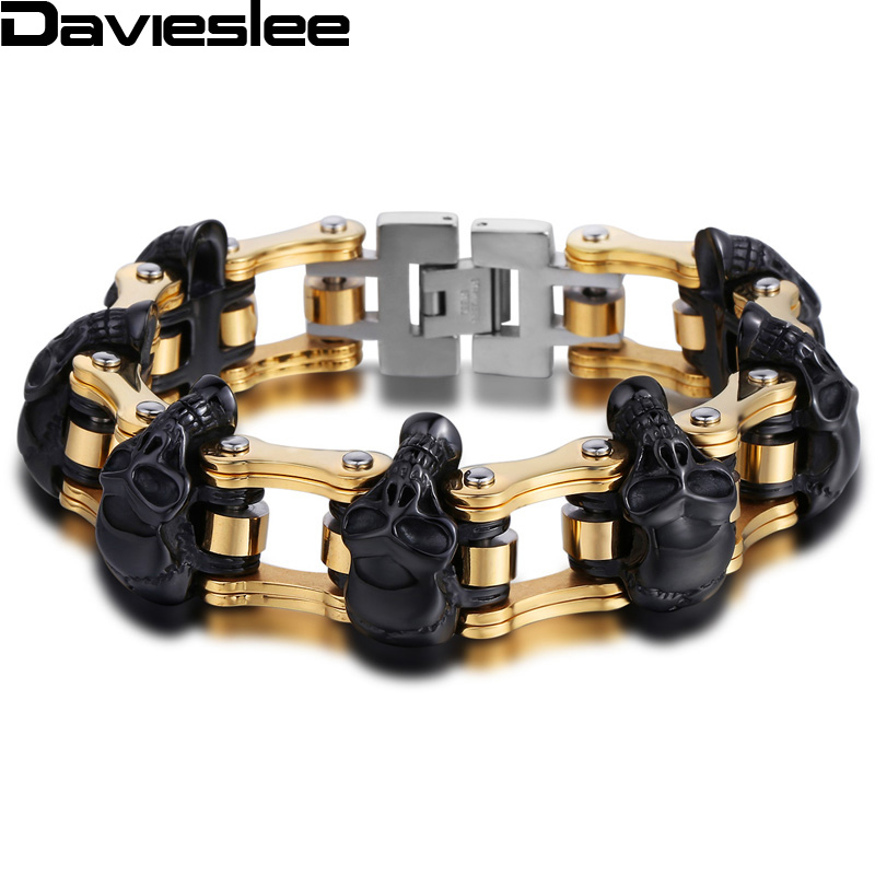 Davieslee Mens Bracelet Biker Motorcycle Chain Skull Black Silver Tone 316L Stainless Steel 19mm 22.5cm LHB221 gj303 rhinestones 316l stainless steel couple s ring black silver size 9 7 2 pcs
